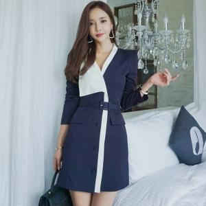 DR_9646 (pre-order) ชุดเดรสสูทสีน้ำเงินแขนยาว พร้อมเข็มขัด แฟชั่นเกาหลี, 2017, Dress, Navy Blue, S-M-L-XL