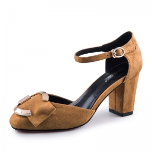 SH_1651 (pre-order) รองเท้าทำงาน สไตล์ Sandals ปิดส้นสีน้ำตาลเบจ, 2017, Shoes, BrownBeige, Size 34-35-36-37-38-39