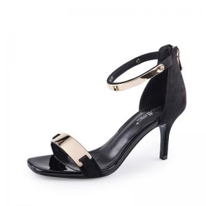 SH_1650 (pre-order) รองเท้าส้นสูงกำมะหยี่ สีดำสายคาดทอง สูง 7cm ซิบหลัง, 2017, Shoes, Black, Size 34-35-36-37-38-39