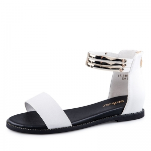 SH_1641 (pre-order) รองเท้าแฟชั่นส้นเตี้ย ซิบหลัง สูง 3cm สีดำขาว, 2017, Shoes, White&Black, Size 34-35-36-37-38-39