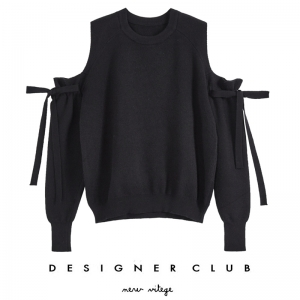BL_5010 (pre-order) เสื้อนิตติ้งสีดำเปิดไหล่ แฟชั่นหน้าหนาว, 2017, Top, Black, Free Size