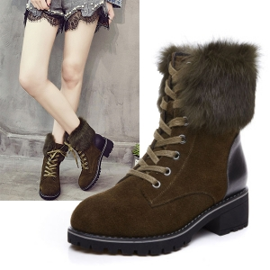 SH_1618 (pre-order) รองเท้าบู๊ทหนังแท้ พร้อมขนเฟอร์ ใส่เที่ยวเมืองนอก สูง 3.5cm, 2017, Shoes, Black-Dark Brown-Beige Caramel, Size 35-36-37-38-39-40