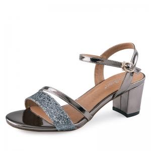 SH_1640 (pre-order) รองเท้าแบรนด์ EX สีเทาเงิน ผสมเมทาลิคและผิวกากเพชร สูง 6.5cm, 2017, Shoes, SilverGrey, Size 34-35-36-37-38-39