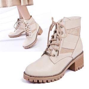 SH_1617 (pre-order) รองเท้าบู๊ทส้นหนา สูง 5.5cm, 2017, Shoes, Beige, Size 35-36-37-38-39