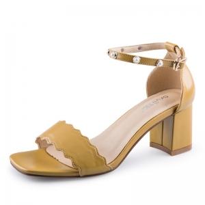 SH_1646 (pre-order) รองเท้าส้นหนาสไตล์ Sandals สายคาดแบบคลื่น สีเหลืองมัสตาร์ด สูง 6cm, 2017, Shoes, Yellow Mustard, Size 34-35-36-37-38-39