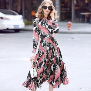 DR_9669 (pre-order) ชุดเดรส Silk แท้ พิมพ์ลายนกกระเรียน สีชมพูอมดำ, 2017, Dress, Pink, S-M-L-XL