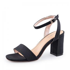 SH_1638 (pre-order) รองเท้ากำมะหยี่ส้นสูงสไตล์ Sandals รัดข้อ สีดำ สูง 7.5cm, 2017, Shoes, Black, Size 34-35-36-37-38-39
