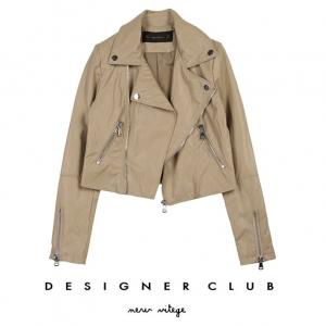 BL_5003 (pre-order) เสื้อแจ๊กเก็ตหนังสีเบจ ใส่เที่ยวเมืองนอก, 2017, Top-Jacket, Beige, S-M-L