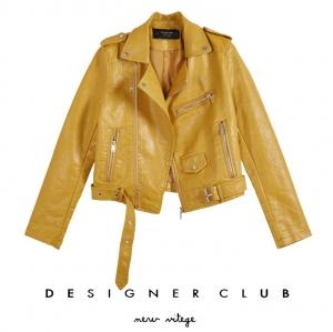 BL_5002 (pre-order) เสื้อแจ๊กเก็ตหนังแขนยาว, 2017, Top-Jacket, Yellow-Black, S-M-L-XL