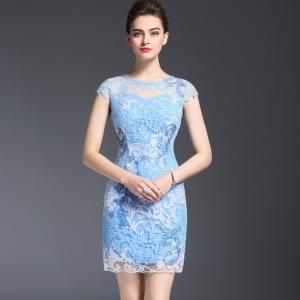DR_9660 (pre-order) ชุดเดรสทำงาน-ชุดออกงาน แฟชั่นลูกไม้สีฟ้าพาสเทล, 2017, Dress, Blue, S-M-L-XL-XXL-3XL