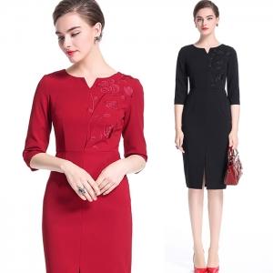 DR_9516 (pre-order) ชุดเดรสทำงานผสมงานปัก เรียบหรู มีสีดำ-สีแดง, 2017, Dress, Black-Red, S-M-L-XL-XXL-3XL