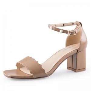 SH_1647 (pre-order) รองเท้าส้นหนาสไตล์ Sandals สายคาดแบบคลื่น สีเหลืองเบจ สูง 6cm, 2017, Shoes, Beige, Size 34-35-36-37-38-39