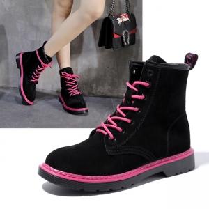 SH_1624 (pre-order) รองเท้าบู๊ทผ้าใบ ใส่เที่ยวเมืองนอก สูง3cm, 2017, Shoes, Black-Pink-BlackPink, Size 35-36-37-38-39
