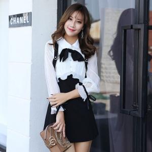 DR_9649 (pre-order) ชุดเดรสเกาหลีโทนขาวดำ ดีไซน์สไตล์เอี๊ยม, 2017, Dress, White&Dress, S-M-L