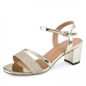 SH_1639 (pre-order) รองเท้าแบรนด์ EX สีทองอ่อน ผสมเมทาลิคและผิวกากเพชร สูง 6.5cm, 2017, Shoes, Gold, Size 34-35-36-37-38