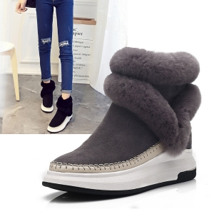 SH_1619 (pre-order) รองเท้าลุยหิมะ ใส่เที่ยวเมืองนอก (ขนสัตว์หรือกำมะหยี่), 2017, Shoes, Grey-Black, Size 34-35-36-37-38-39-40