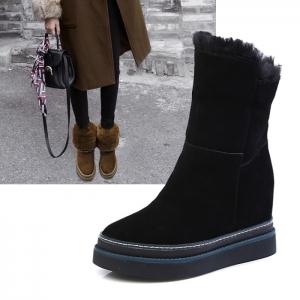 SH_1616 (pre-order) รองเท้าบู๊ทลุยหิมะ หนังแกะ พับได้ สูง 3cm, 2017, Shoes, Black-BeigeBrown, Size 34-35-36-37-38-39-40