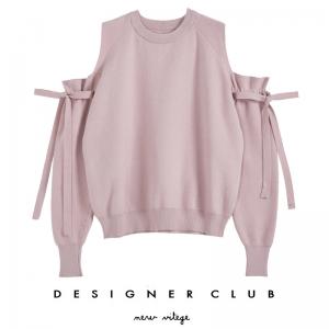 BL_5009 (pre-order) เสื้อนิตติ้งเปิดไหล่จั๊มข้อมือ แฟชั่นเกาหลี ใส่เที่ยวหน้าหนาว, 2017, Top, Pink, Free Size