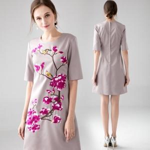 DR_9527 (pre-order) แฟชั่นเดรสยุโรปสีเทาผสมงานปัก, 2017, Dress, Grey, S-M-L-XL-XXL