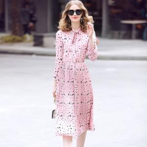 DR_9666 (pre-order) ชุดเดรสอัดพลีทสีชมพู ลายการ์ตูนน้องหมา น่ารักหวานๆ, 2017, Dress, Pink, S-M-L-XL