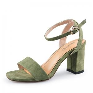 SH_1637 (pre-order) รองเท้ากำมะหยี่ส้นสูงสไตล์ Sandals รัดข้อ สีเขียว สูง 7.5cm, 2017, Shoes, Green, Size 34-35-36-37-38-39