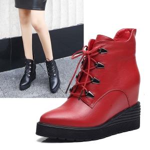 SH_1620 (pre-order) รองเท้าบู๊ทใส่เที่ยวเมืองนอก หนังแท้ สูง 5cm, 2017, Shoes, Black-Red, Size 34-35-36-37-38-39