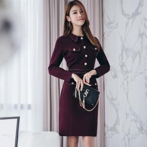 DR_9648 (pre-order) ชุดเดรสเชิ้ตแฟชั่นเกาหลี โทนม่วง Plum แขนยาว, 2017, Dress, Purple, S-M-L-XL