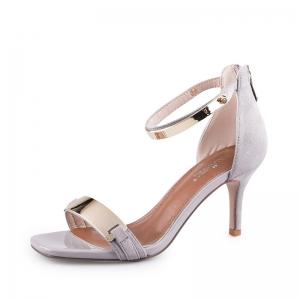 SH_1649 (pre-order) รองเท้าทำงานเปิดส้นสีเทา รัดข้อ-ปิดส้น สไตล์กำมะหยี่คาดทอง, 2017, Shoes, Grey, Size 34-35-36-37-38-39