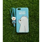 TPU moomin พร้อมสาย Oppo R9S plus/R9S Pro(ใช้เคสตัวเดียวกัน) ลายหมีขาวสีฟ้า