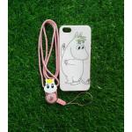 TPU moomin พร้อมสาย iphone6/6s ลายม้าขาวสีชมพู