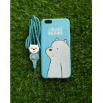 TPU moomin พร้อมสาย Oppo R9S ลายหมีขาวสีฟ้า