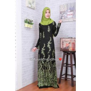 ชุดเดรสมุสลิมแฟชั่นพร้อมผ้าพันแสนสวย Metallic A-Line Dresses GREEN