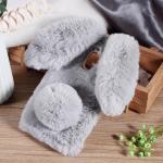 เคสซัมซุง a8 2018 เคสนิ่มขนกระต่ายฟูน่ารักมุ้งมิ้งสีเทา