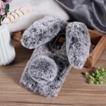 เคสซัมซุง a8 2018 เคสนิ่มขนกระต่ายฟูน่ารักมุ้งมิ้งสีเทาเข้ม
