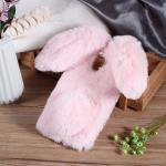 เคสซัมซุง a8 2018 เคสนิ่มขนกระต่ายฟูน่ารักมุ้งมิ้งสีชมพู