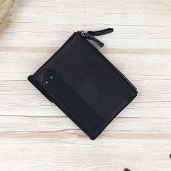 กระเป๋าสตางค์หนังแท้ ทรงตั้ง สีดำ ซิป 2 ช่อง