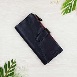 กระเป๋าสตางค์หนังแท้ ทรงยาว แยกส่วนได้ สีดำ ซิปแดง สวยสไตล์สปอร์ต