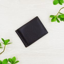 กระเป๋าสตางค์หนังแท้ คลิปหนีบธนบัตร ทรงสั้น สีน้ำตาลเข้ม บาง มีช่องซิปสำหรับเก็บเหรียญ