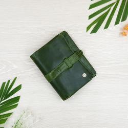 กระเป๋าสตางค์หนังแท้ ทรงตั้ง สีเขียว