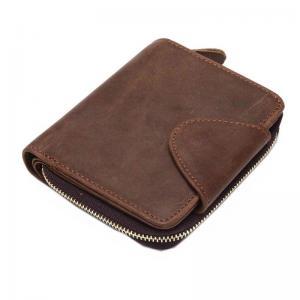กระเป๋าสตางค์หนังแท้ บุรุษ ทรงตั้ง ซิปรอบ มีกระดุม สีน้ำตาล