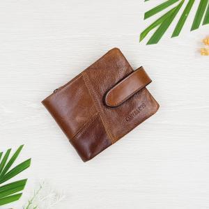กระเป๋าสตางค์หนังแท้ ทรงสั้น สีน้ำตาล ซิปสีแดง แยกส่วนเป็นกระเป๋า 2 ใบได้