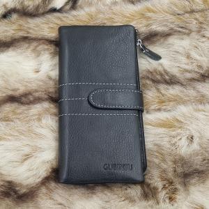 กระเป๋าสตางค์หนังแท้ บุรุษ ทรงยาว GUBINTU Line Button Zip สีดำ