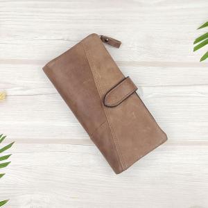 กระเป๋าสตางค์หนังแท้ ทรงยาว แยกส่วนได้ สีน้ำตาลเทา