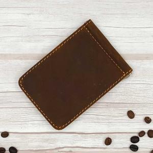 กระเป๋าสตางค์หนีบธนบัตร หนังแท้ บางพกง่าย สีน้ำตาล ทรงสั้น