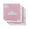 Jollein - Diaper Cloud pink ผ้าอ้อมลายก้อนเมฆชมพู เซต 6 ผืน size 70x70 cm.