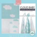 Jollein - Multi cloth Cloud jade ผ้าห่อตัวลายก้อนเมฆเขียว เซต 3 ผืน size 115x115 cm.