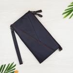 กระเป๋าสตางค์หนังแท้เเบบครัชท์ 2 ช่องซิปขนาดใหญ่ มีสายคล้องข้อมือ สีน้ำตาลกาแฟ
