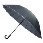 30'' 16 Ribs Big Size Walking Umbrella ร่มยาวขนาดใหญ่ต้านลมแรง16ก้าน30นิ้ว - เทาเข้ม