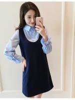 ชุดเอี้ยมคลุมท้อง เสื้อสีฟ้า+ชุดคลุมกรมท่า