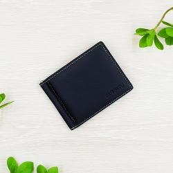 กระเป๋าสตางค์หนังแท้ คลิปหนีบธนบัตร ทรงสั้น สีดำ บาง มีช่องซิปสำหรับเก็บเหรียญ